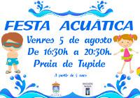 A praia focense de Tupide acollerá este venres, 5 de agosto, unha festa acuática para nen@s a partir de 5 anos.