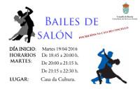 """Está aberta a inscrición nos """"Bailes de salón"""" que organiza a Concellería de Servizos Sociais de Burela. A actividade dará comezo o vindeiro 19 de abril e impartirase na Casa da Cultura os martes."""