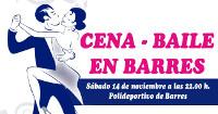 El polideportivo de Barres acoge el 14 de noviembre una cena-baile organizada por la Comisión de Fiestas.