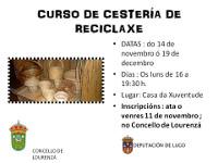 En Lourenzá desenvolverase un curso de cestería de reciclaxe entre o 14 de novembro e o 19 de decembro. Os interesados en participar poden anotarse nas oficinas da Casa do Concello.
