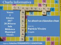 O 3 de febreiro haberá unha charla sobre as cláusulas chan en Viveiro. Está organizada por Pensamento e Sementeira.