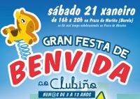 """El 21 de enero se celebra en Burela la gran fiesta de bienvenida al """"Clubiño"""". Está destinada a niñ@s de 3 a 12 años. Será en la praza da Mariña con entrada gratuita."""