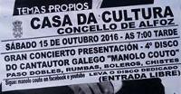 Manolo Couto ofrecerá un concerto este sábado, 15 de outubro, na Casa da Cultura en Alfoz. A entrada é de balde.