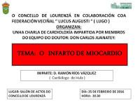 Lourenzá acollerá unha charla sobre o infarto de miocardio a cargo do cardiólogo Ramón Ríos Vázquez. Será o 25 de febreiro ás oito e media da tarde.