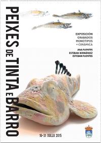 """Ata o 31 de xullo poderase ver no Cenima, en Foz, a exposición """"Peixes de tinta e barro"""". Trátase dun conxunto de pezas de cerámica e gravados de tres artistas."""