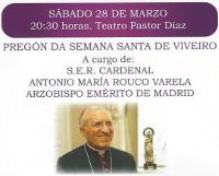 O pregón de Semana Santa de Viveiro será este sábado, 28 de marzo, no Teatro Pastor Díaz.