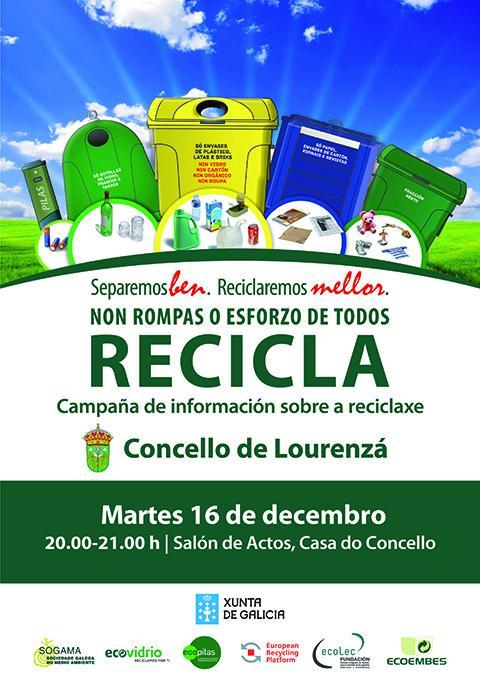 O salón de actos da Casa do Concello de Lourenzá albergará o vindeiro martes unha charla  sobre reciclaxe e protección do medio ambiente.