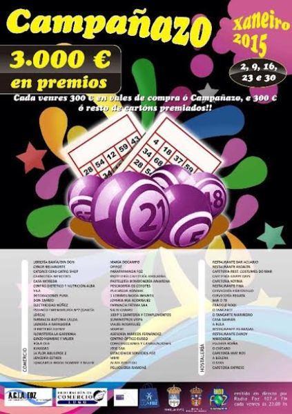 ACIA Foz - CCA repartirá en xaneiro 3.000 euros nunha nova edición do Campañazo. Cada venres outorgaranse 300 euros á primeira persoa que cante bingo e outros 300 entre o resto de cartóns premiados.