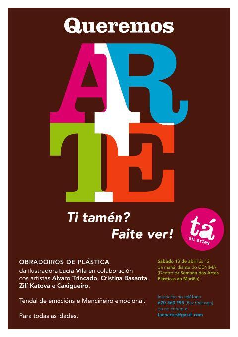 O sábado, 18 de abril, haberá obradoiros de plástica para todas as idades en Foz, diante do Cenima. A actividade enmárcase dentro da Semana das Artes Plásticas da Mariña.