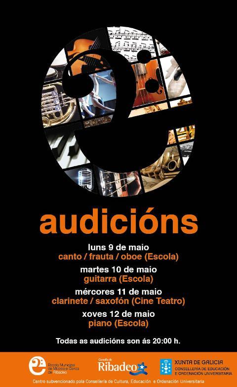 Do 9 ao 12 de maio haberá novas audicións da Escola Municipal de Música e Danza de Ribadeo.
