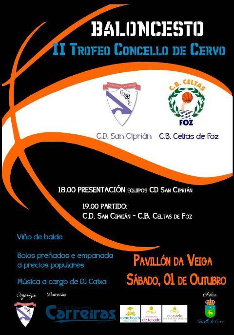 En San Ciprián celebrarase o 1 de outubro unha xornada dedicada ao baloncesto, que inclúe un clinic e un partido entre os equipos sénior do CD San Ciprián e o CB Celtas de Foz.