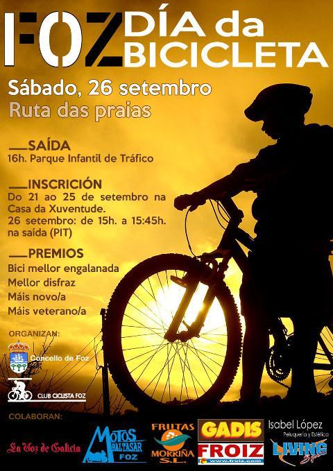 Foz acollerá o día da bicicleta este sábado, 26 de setembro, cun percorrido pola ruta das praias.