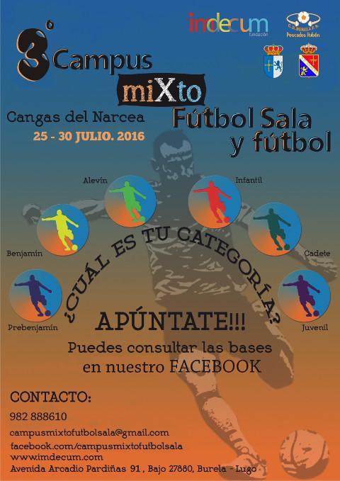 La localidad asturiana de Cangas del Narcea acogerá el tercer campus mixto de fútbol sala y fútbol de base, que organiza la Fundación Imdecum.