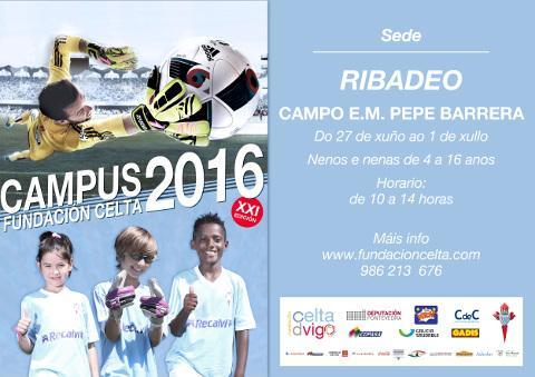 O campo de fútbol municipal Pepe Barrera, de Ribadeo, acollerá o XXI Campus da Fundación Celta para nenos e nenas de 4 a 16 anos. Será do 27 de xuño ao 1 de xullo.