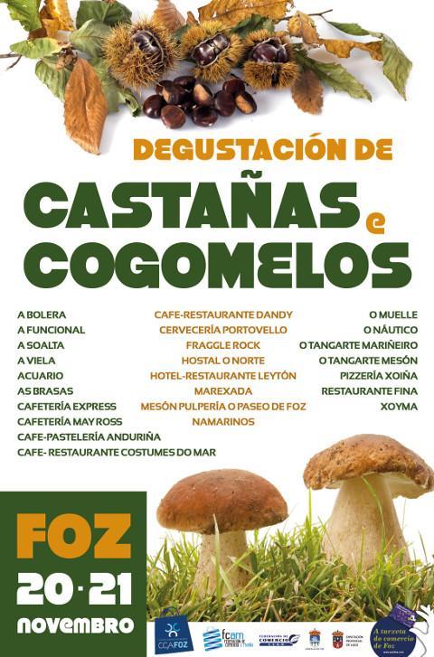 ACIA/CCA de Foz organiza unha degustación de castañas e cogomelos en 25 locais hostaleiros os días 20 e 21 de novembro.