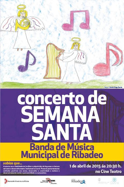 A Banda de Música Municipal de Ribadeo ofrece un concerto de Semana Santa o 1 de abril no Cine Teatro.