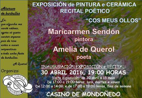 O Casino de Mondoñedo acollerá a inauguración dunha exposición de pintura e cerámica e un recital poético o vindeiro 30 de abril.