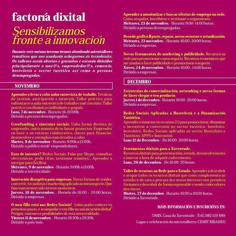 O 7 de novembro arrinca en Ribadeo a segunda fase da Factoría Dixital, que organizan as Concellarías de Desenvolvemento Local e Novas Tecnoloxías.