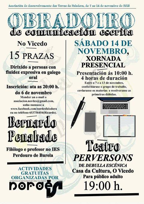 """Nordés Faladora organiza un """"Obradoiro de comunicación escrita"""", que se celebrará o 14 de novembro na Casa da Cultura do Vicedo."""