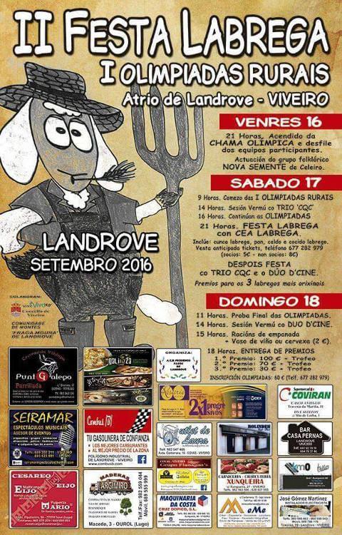 Do 16 ao 18 de setembro terán lugar en Landrove (Viveiro) as I Olimpíadas Rurais e a II Festa Labrega.