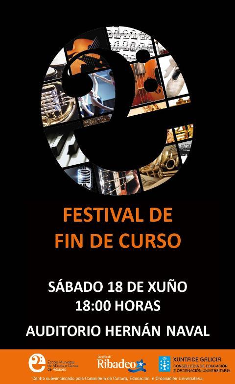 O auditorio de Ribadeo acollerá este sábado, 18 de xuño, o festival de fin de curso da EMMeD, que por primeira vez se poderá seguir en directo a través do facebook da escola.