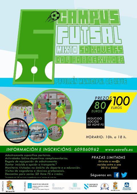 El 5º Campus SD Xove FS de Fútbol Sala Mixto se celebrará del 4 al 8 de julio. Más del 50% de las plazas ya están cubiertas.