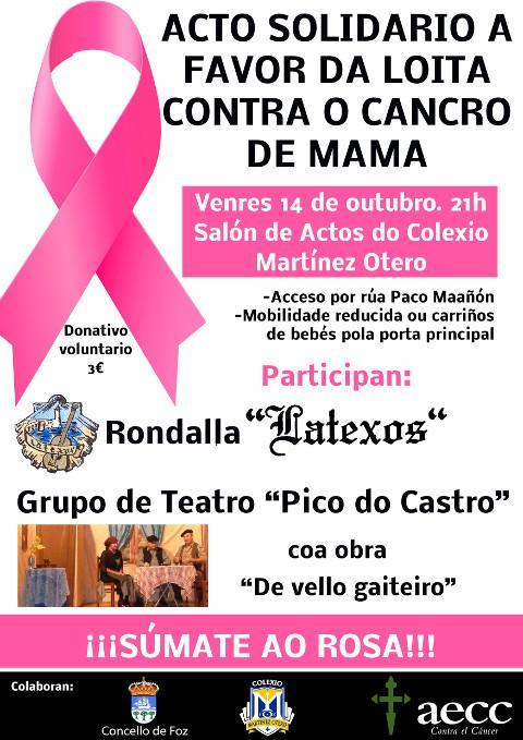 A Delegación Local de Foz da AECC organiza unha concentración para sumarse ao rosa o 19 de outubro. E o 14 deste mes haberá un acto solidario a favor da loita contra o cancro de mama.
