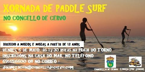A praia do Torno, de San Ciprián, acollerá unha xornada de paddle surf dirixida a moz@s a partir de 12 anos este venres, día 6. Está organizada pola delegación municipal de Xuventude.