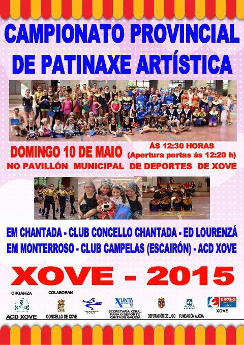 O 10 de maio terá lugar no pavillón municipal de Xove o campionato provincial de patinaxe artística Xove 2015. O evento está organizado por ACD Xove.