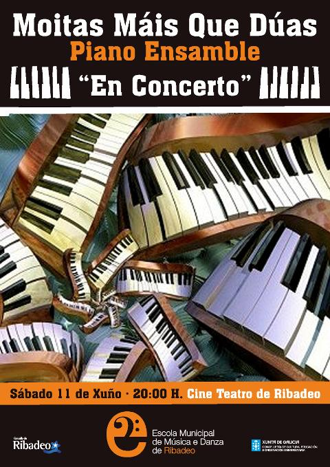 """Concerto de piano este sábado, 11 de xuño, no Cine Teatro ribadense a cargo de """"Moitas máis que dúas Piano Ensamble""""."""
