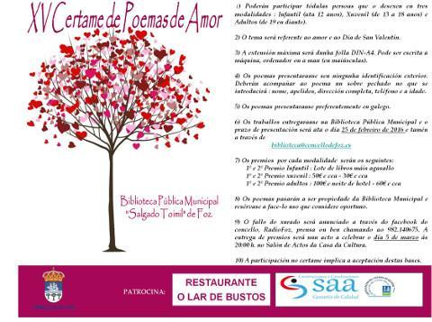 A Biblioteca Municipal de Foz convoca o XV Certame de Poemas de Amor. O prazo para entregar os traballos remata o 25 de febreiro.