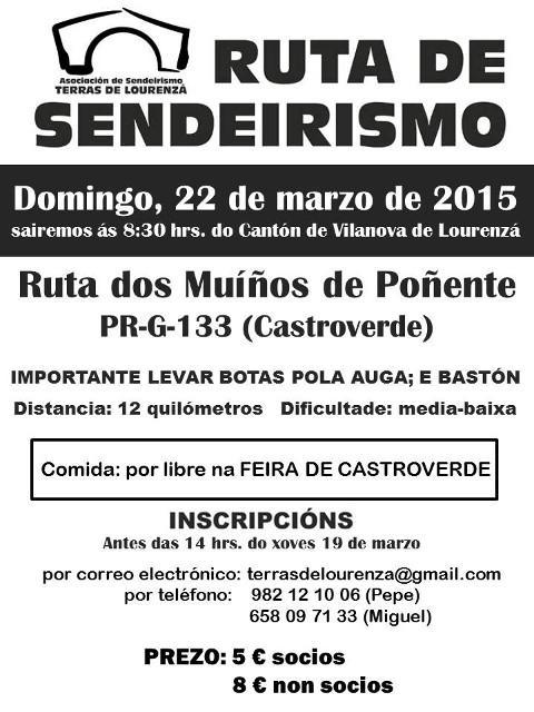 Terras de Lourenzá realizará a ruta dos Muíños de Poñente, en Castroverde, o vindeiro domingo, 22 de marzo.