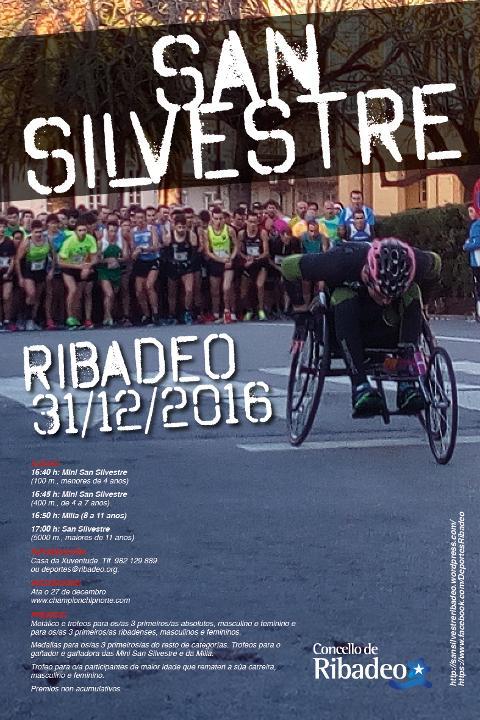 Ata o 27 de decembro está aberto o prazo de inscrición para participar na San Silvestre 2016, que organiza a Concellaría de Deportes de Ribadeo.