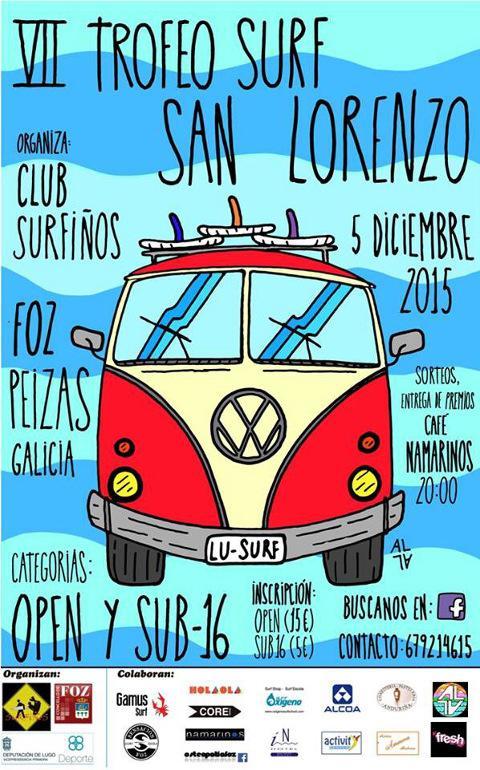A praia de Peizás, en Foz, acolle este sábado, 5 de decembro, a sétima edición do Trofeo Surf San Lorenzo.