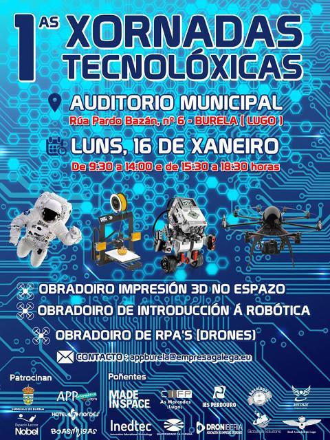 O 16 de xaneiro terán lugar en Burelas as I Xornadas Tecnolóxicas, que organizan o Concello e a empresa APP Informática. Están dirixidas a alumn@s de institutos e colexios.