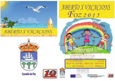 """En xullo e agosto terá lugar en Foz unha nova edición do programa """"Aberto por vacacións"""", que organiza o Concello. Está destinado a nen@s de 3 a 12 anos."""