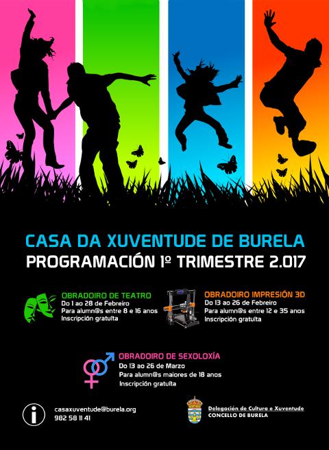 Na Casa da Xuventude de Burela impartiranse en febreiro e marzo tres obradoiros: teatro, impresión en 3D e sexoloxía. A inscrición está aberta.