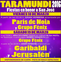 Fiestas en honor a San José los días 18 y 19 de marzo en Taramundi. Habrá carpa y pista de baile asfaltada.