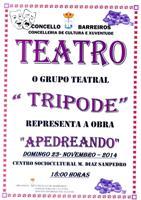 O grupo de teatro Trípode representará este domingo en Barreiros a obra Apedreando. Farao a partir das seis da tarde no Centro Sociocultural Manuel Díaz Sampedro.