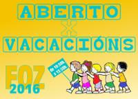 """O Concello de Foz organiza o programa """"Aberto por vacacións"""" para nen@s de 3 a 12 anos. As actividades comezarán o 6 de xullo."""