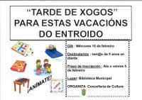 En Lourenzá a Concellería de Cultura organiza unha tarde de xogos para nen@s a partir de 5 anos. Será o 10 de febreiro.